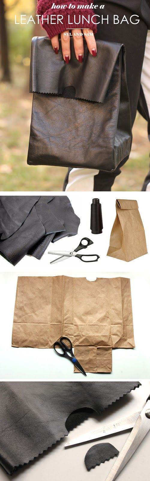 Learn how to make your own leather lunch bag. Inspired by designer fold over bag by Jil Sander.