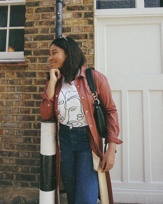 0b1293207916 @withloveyossy in the Jacqueline Brown Vegan Leather Shirt Dress #KITRIgirls