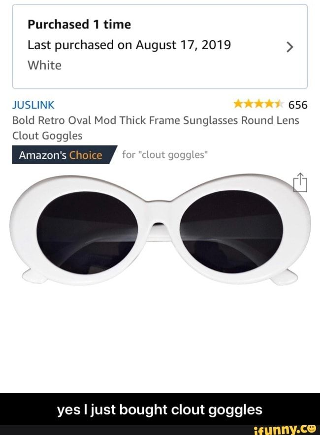 Purchased 1 Time Last Purchased On August 17 2019 White Juslink 656 Bold Retro Oval Mod Thick Frame Sunglasses Round Lens Yes I Just Bought Clout Goggles Y In 2020 Sunglass Frames Round Sunglasses Goggles
