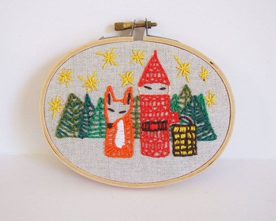 Swedish Forest Handmade hoop embroidery by Tiendanordica //