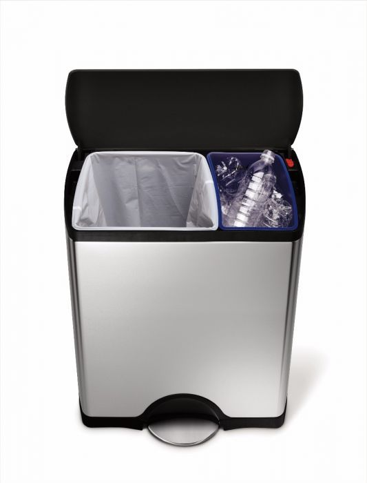 <p>This stylish recycling bin from Simplehuman is great value - packed with features found on many of their more expensive bins. The CW1974 has a wide opening soft-close lid and two inner buckets of 30 Litres and 16 Litres and to help you sort your waste and recycling in the kitchen.</p>