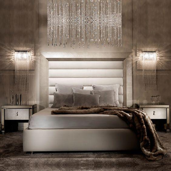 Contemporary Alligator Embossed Pattern Leather Italian Designer Bed