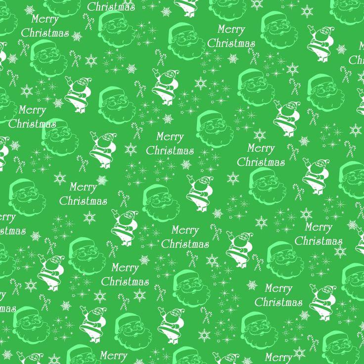 Free Vintage Digital Stamps Green Christmas Santa
