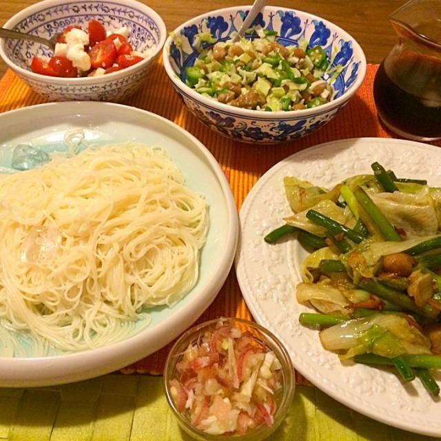 手抜き素麺ディナー - 11件のもぐもぐ - 素麺、レタスと大蒜の芽炒め、オクラ納豆キャベツ、モッツァレラ&プチトマト by junya
