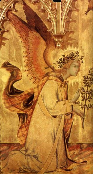 Detail of Angel Gabriel, The Annunciation and Two Saints - Simone Martini, Trecento
