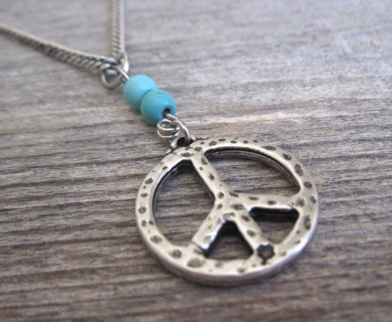 """Men's Necklace - Silver Plated Peace Pendant - Mens Jewelry - Peace Jewelry - Symbol Jewelry - Gift For Him  Looking for a gift for your man? You've found the perfect item for this!   The simple and beautiful necklace features silver plated chain with a peace pendant and 2 turquoise beads.  Length: 25"""" (65 cm).  Item will arrive in a pretty gift box as shown in last image, ready to give, with my brand logo.  $35"""