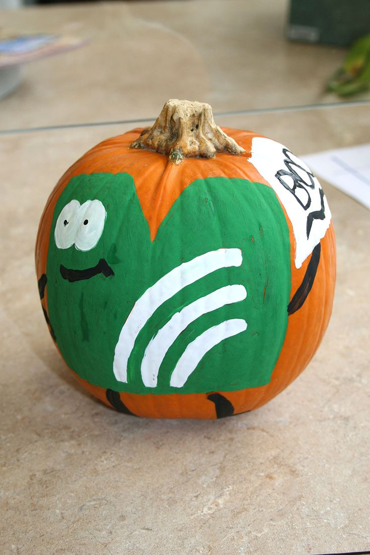 """The """"M-Dude"""" appearing on a pumpkin at Club Day."""