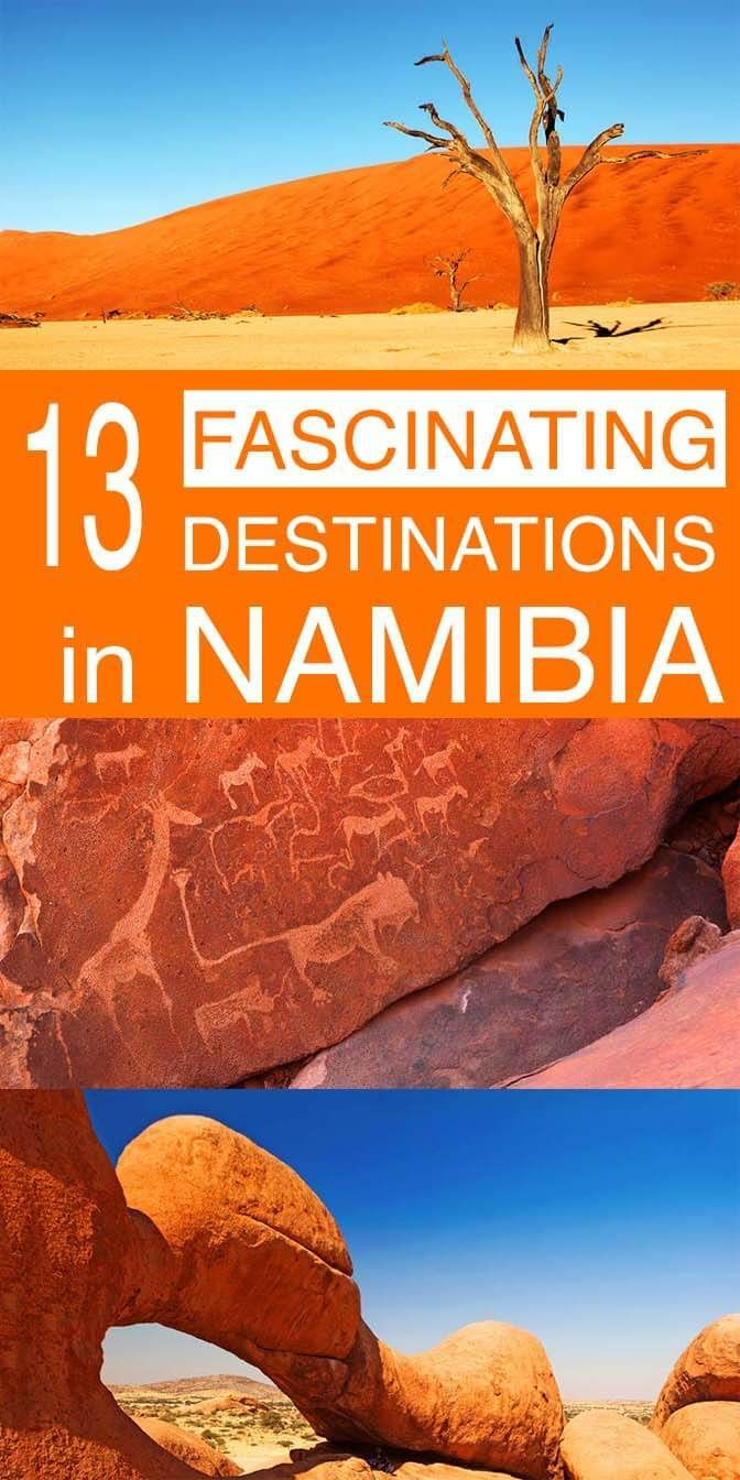 13 fascinating destinations not to miss in Namibia. From the most famous landmarks like Sossusvlei and Etosha Natinonal Park to some fascinating hidden gems - these are our favourite places to see in Namibia.