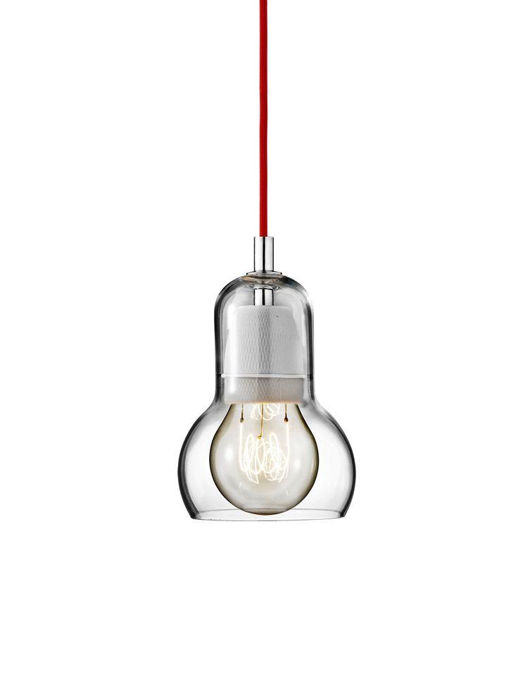 BULB SR1: Glasleuchte mit Kabel in 3 möglichen Farben (schwarz, rot, transparent) #glas #leuchte #design