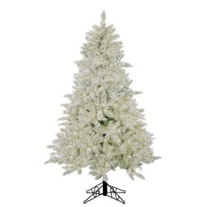 pre lit deluxe flocked white artificial christmas tree with clear lights at the home depot mobile - Home Depot White Christmas Tree