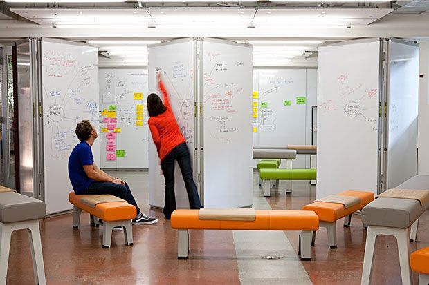 Movable whiteboard walls to separate space