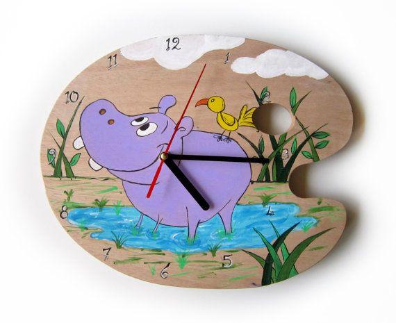 Wall Clock - Ηippo hand painted clock - Kids Clock - Wooden clock- Kids Bedroom - Baby Nursery decor- Little Boy - Little Girl.