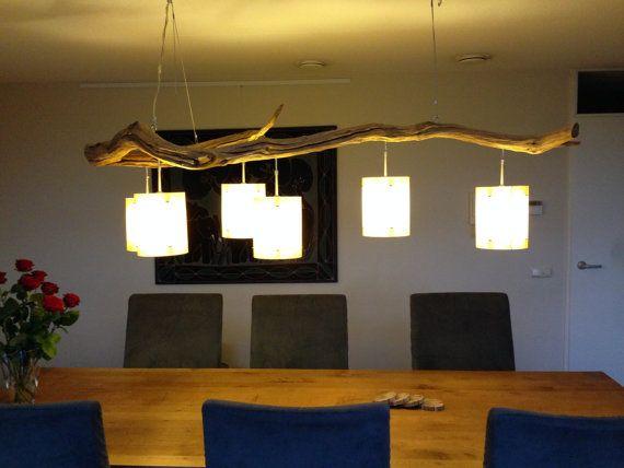 Plafondlamp met 6 lichten vervaardig van verweerd door GBHNatureArt