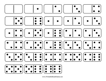 These printable standard dominoes have a total of 28 tiles with all of the combinations of the numbers 0-6. Free to download and print