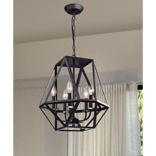 Joshua 5-light Multangular Iron Chandelier in Antique Black - Free Shipping Today - Overstock.com - 17762684 - Mobile