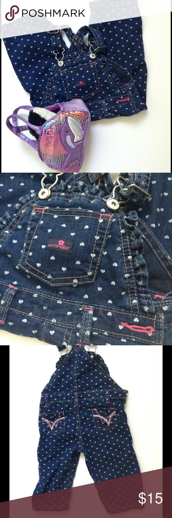 🆕 Cutest WRANGLER HEARTS OVERALLS 💕6-9Mo EUC WRANGLER DENIM OVERALLS with White Hearts and Pink trim. Button closure at sides, straps and crotch.  Minimal to no wear. Excellent used condition. Wrangler Bottoms Overalls
