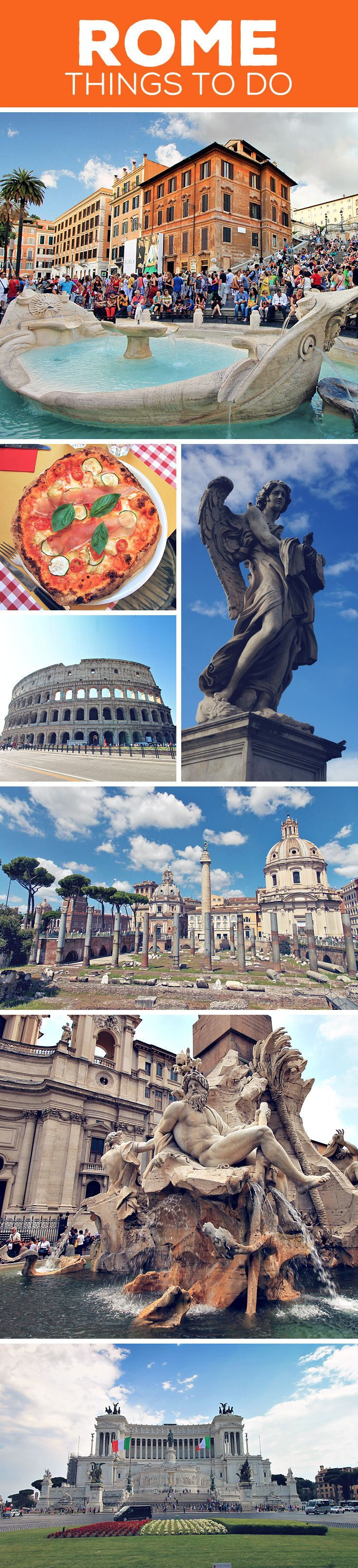 Sightseeing tips and things to do in Rome, Italy: Colosseum |  Pantheon | Roman Forum | Piazza Navona | Spanish Steps | Trevi Fountain | Altare della Patria | Vatican City | More on my blog: How To Travel Italy By Train - A First Timer's Guide incl. Things To Do And Places To Stay (just click on the image) via @Just1WayTicket | Interrail Eurail Europe Train Travel