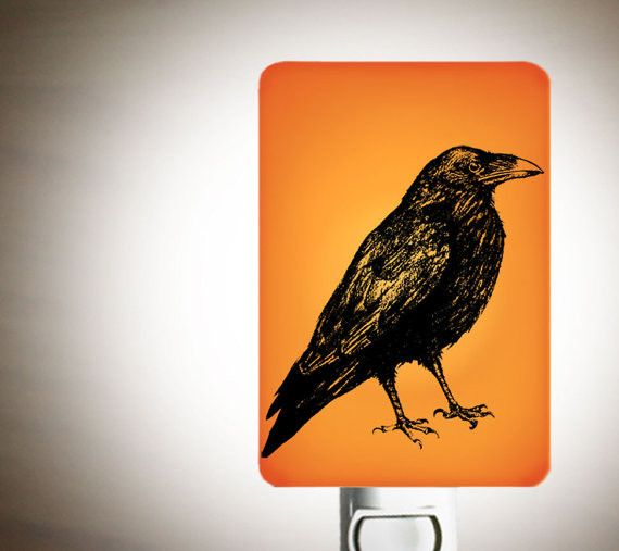 Raven Fused Glass Nightlight for a Nursery or Kids Room - Scavenger Bird Animal