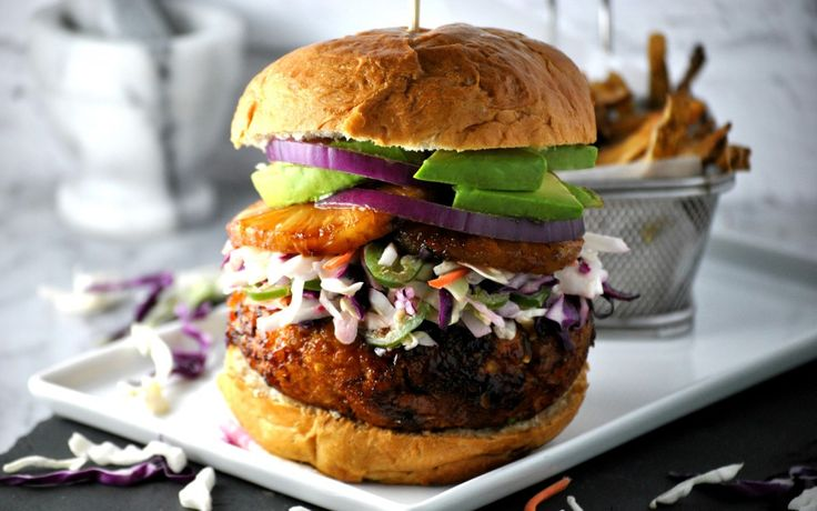 Hawaiian Teriyaki Chickpea Burger [Vegan] | One Green Planet