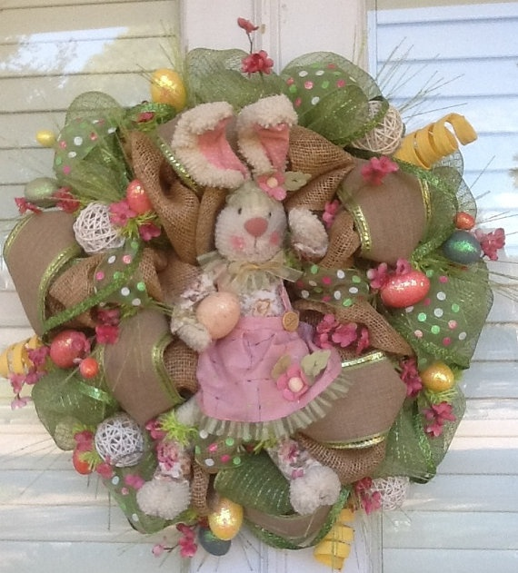 Burlap and Deco Mesh Easter Bunny Wreath by HertasWreaths on Etsy, $125.00