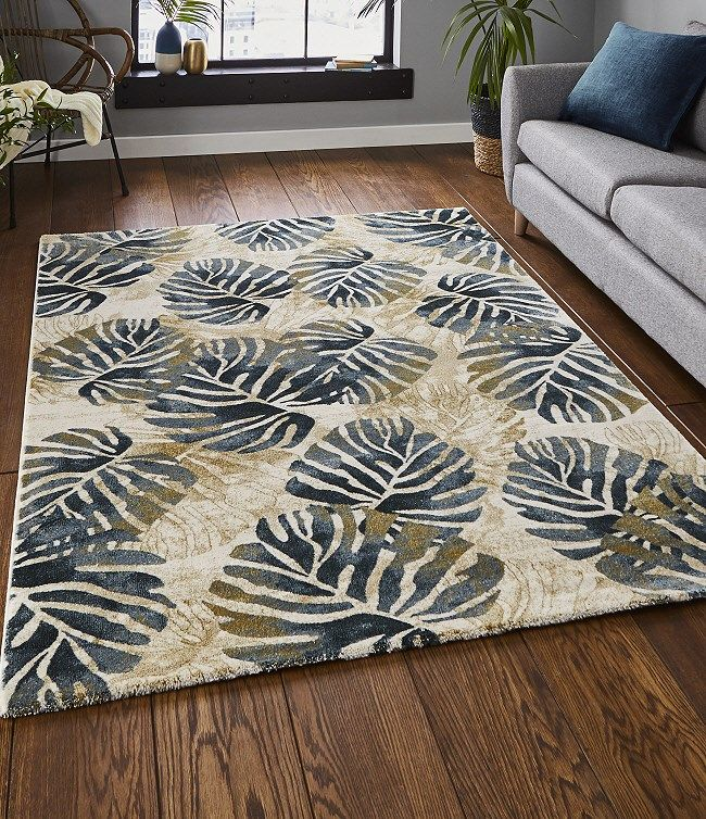Tropics Rugs 6097 Comes With Its Multi Coloured Blue Green Leaf Design On A