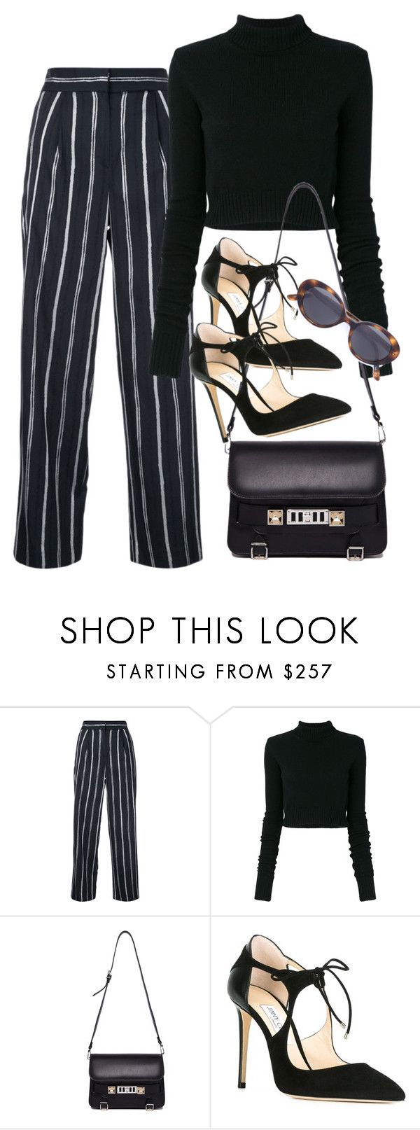 """""""Sin título #4020"""" by camilae97 ❤ liked on Polyvore featuring TOMORROWLAND, Faith Connexion, Proenza Schouler, Jimmy Choo and Oliver Peoples"""