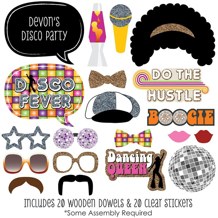 70's Disco - 20 Piece Photo Booth Props Kit | BigDotOfHappiness.com