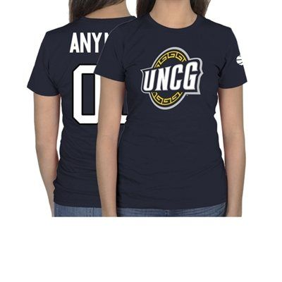 UNCG Spartans Ladies Personalized Basketball Name & Number Slim Fit T-Shirt - Navy Blue