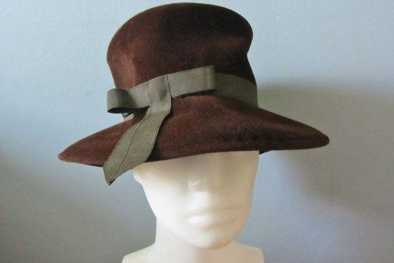 GENUINE VELOUR Vintage 50's Chocolate Brown Fine by HatsForward