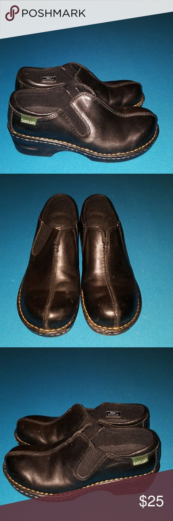 EASTLAND SHOES BLACK LEATHER WOMENS 8M Some signs of wear.  See pics for details.  Lots of wear left tho. Eastland Shoes Mules & Clogs