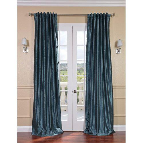 Half Price Drapes Peacock Vintage Textured Faux Dupioni Silk Single Panel Curtain, 50 X 120