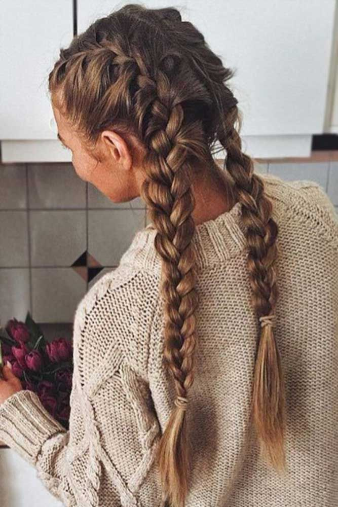 Two Braids Are A Stylish Comeback Of Your Childhood Lovehairstyles Hair Styles Long Hair Styles Casual Hairstyles