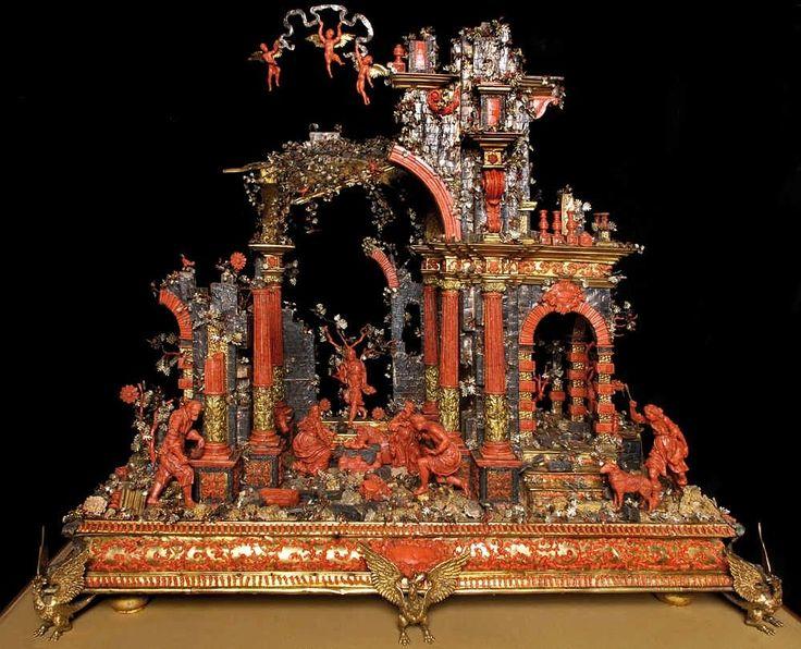 Presepe in corallo, argento dorato, rame, bronzo dorato di bottega siciliana, Trapani, XVIII sec. – Galleria Estense di Modena