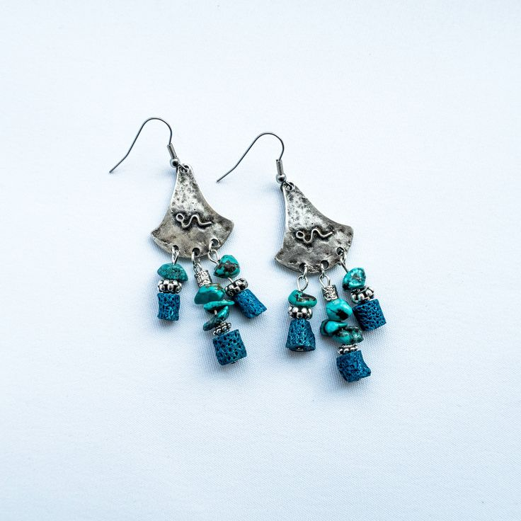 Boho style turquoise/metal earrings with real stones by cementary on Etsy