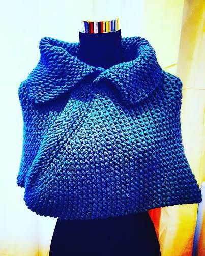 Loom knitted poncho cape by Nicole R.