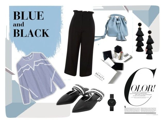 Play with Colors, Bule & Black, for your semi casual office look by tmrw-studio on Polyvore featuring #Topshop #BaubleBar #Newgate #H&M #tmrwstudio #tmrwstudionyc #blue #black #whitepoint #shirt #widelegpants #flat #mule #grosgrain #drawstring #drawstringbag #smallbag #bag #smalldetail #tassels #earrings #watch #beauty #ANDREW #CHELSEA #office #look #semicasual #polyvore #tictail #fancy
