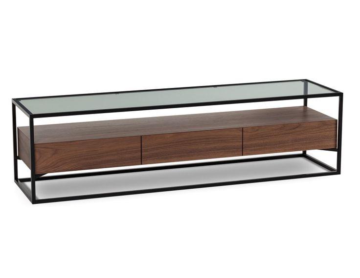 Meuble t l en placage de noyer avec plateau en verre tremp meuble tv mobilier de salon - Meuble tv avec plateau coulissant ...