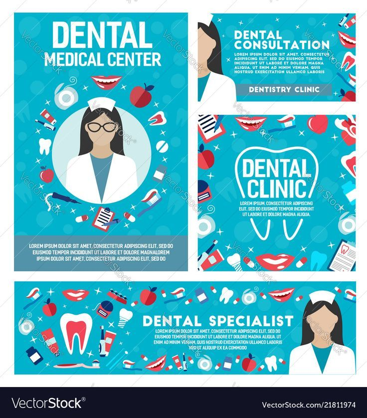 Dental clinic and dentist doctor posters vector dental