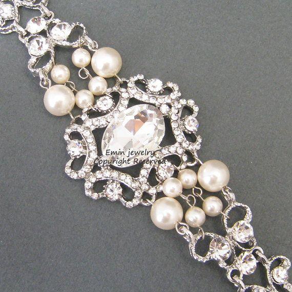 Vintage Style Bridal Wedding Cuff Bracelet, Rhinestone Pearl Wedding Jewelry, B014 Swarovski Ivory Pearl Bracelet,  Vintage Bridal Jewellery on Etsy, $69.00