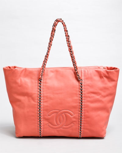 perfect spring bag - Chanel Dusty Rose XL Leather Luxury Ligne Modern Chain Tote