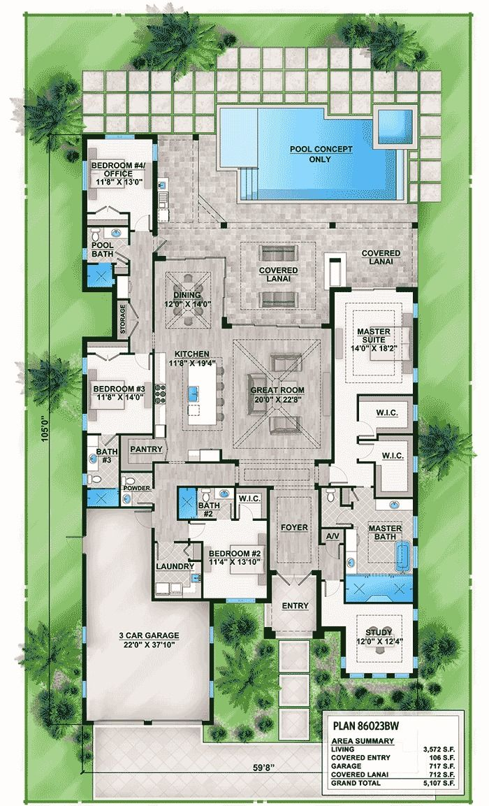 Florida House Plan With Indoor/Outdoor Living   86023BW | 1st Floor Master  Suite,