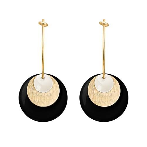 ENAMEL Copenhagen drops earring coin, white, gold, black