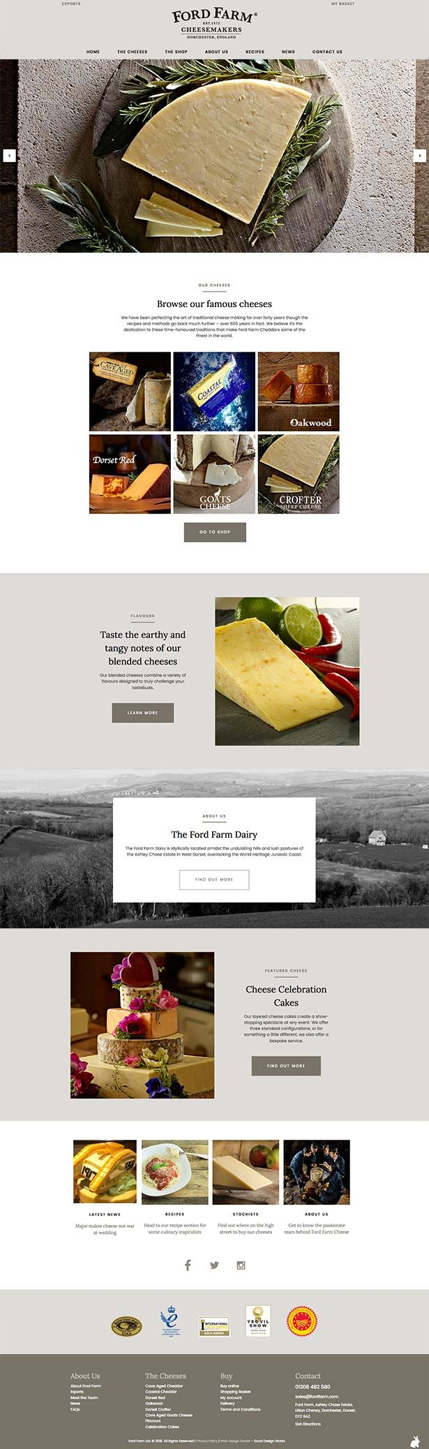 Website design for Ford Farm Cheesemakers by Good Design Works