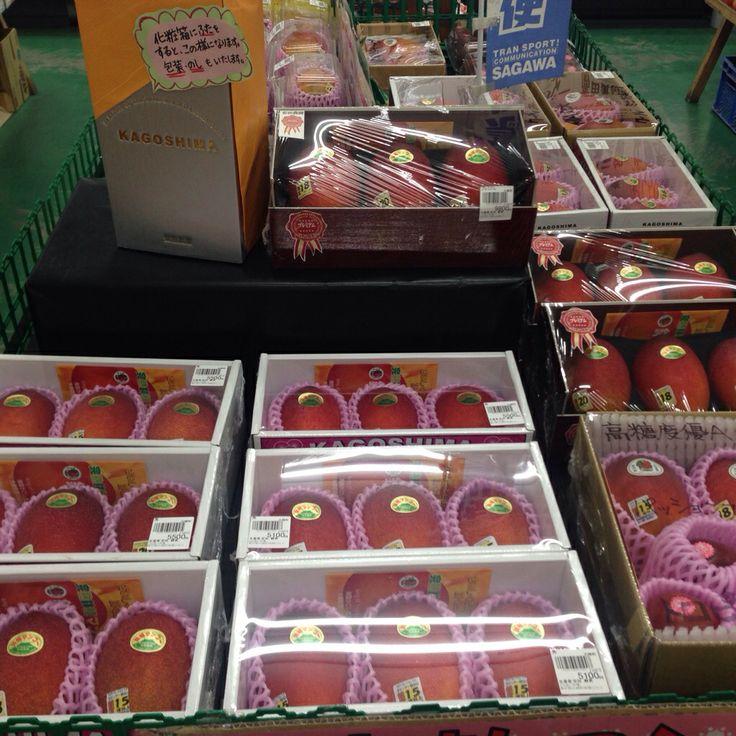 直売所ふれあい市場でマンゴー並べています。