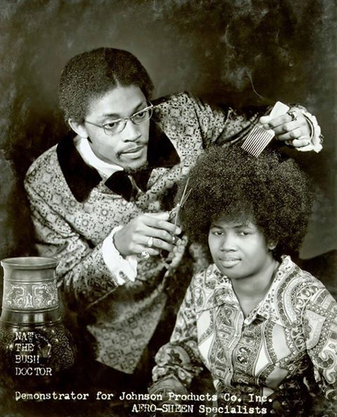 "Nat ""The Bush Doctor"" opened his first shop in 1969 when he was 23 years old. It was called Nat's Hair Care Clinic. When Afros first came out, people were just wearing them natural and it put a lot of people out of work. Nat's idea was focused on how to treat the hair, not just cut it. He got the name Bush Doctor because he called himself the Hair Doctor. When the Afro came out and he started styling it, the neighborhood started call him the Bush Doctor."
