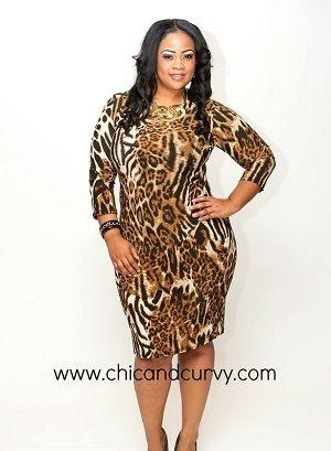 New Plus Size Brown, Black, White Animal Print BodyCon Dress 1X 2X 3X