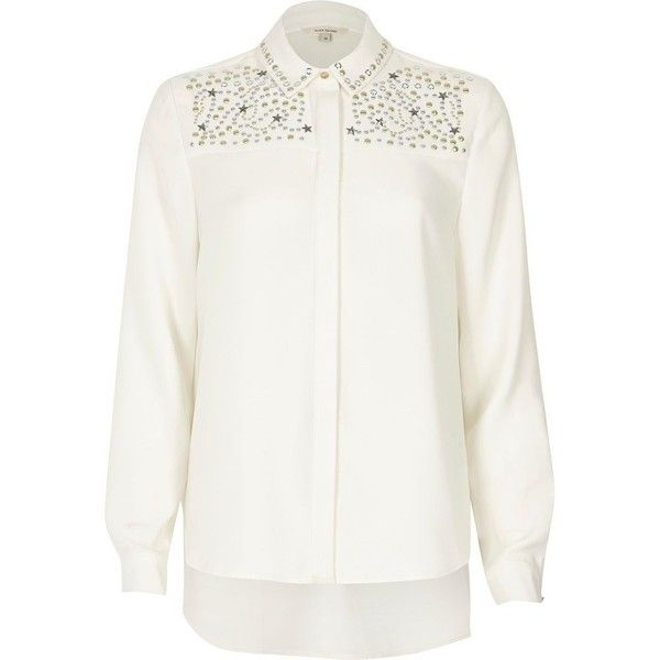 River Island Cream stud star embellished shirt ($80) ❤ liked on Polyvore featuring tops, cream, shirts, women, white shirt, tall shirts, collared shirt, cream long sleeve top and long sleeve tops