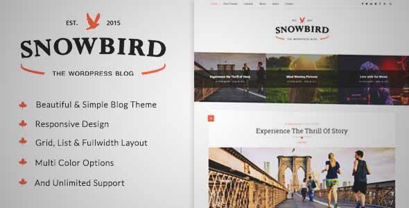 SnowBird - A Responsive Blog Wordpress Theme   DOWNLOAD & REVIEW