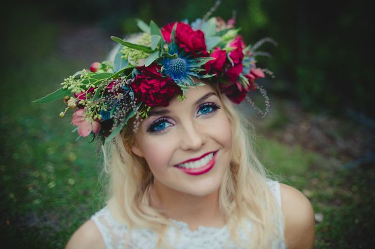 Emma. Winter Bride. Love the Floral Crown using Australian Natives. Beautiful.