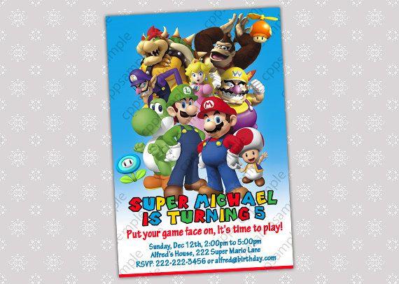 Mario Party Invitations frenchkittennet – Mario Bros Birthday Invitations